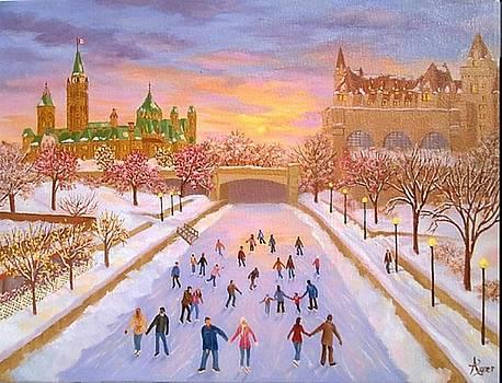Skating By Sunset by Darlene Agner