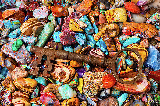 Skeleton Key On Colorful Stones by Garry Gay