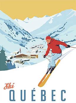 Ski Quebec Artist Signed Travel Poster by Steve Thomas