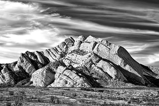 Skyward - Mormon Rocks at Cajon Pass - Black and White by Chrystyne Novack