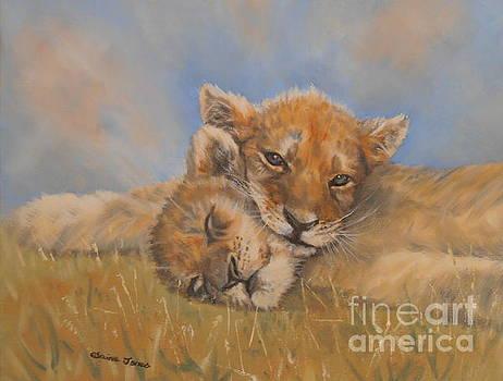 Sleepy Lion Cubs by Elaine Jones