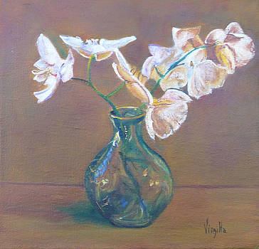 Small Vase with Orchids by Virgilla Lammons