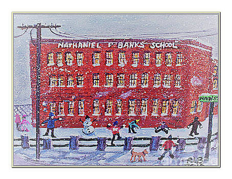 Snow Ball Fight at Banks School by Rita Brown