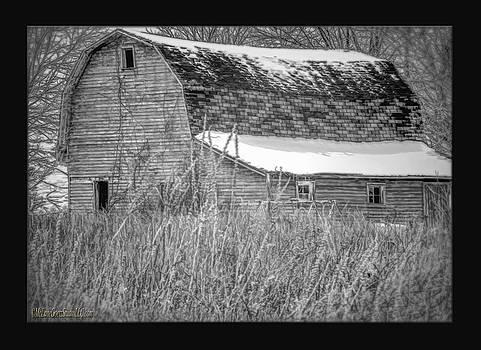 LeeAnn McLaneGoetz McLaneGoetzStudioLLCcom - Snow Covered Red Barn Black and White