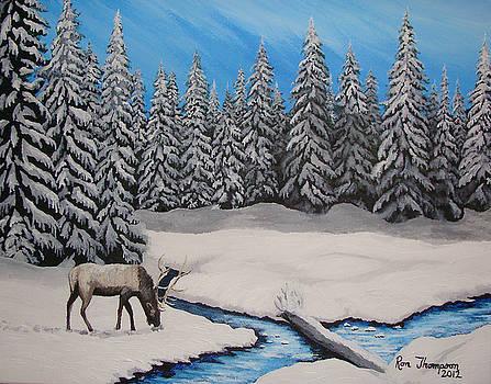 Snow Elk by Ron Thompson