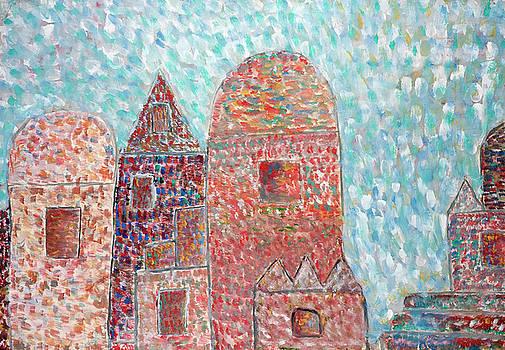 Snow falls on the old knight's castle by Aleksandr Volkov