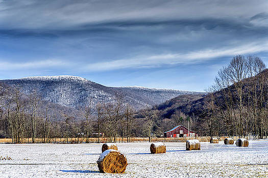 Snow Hay Bales and Barn by Thomas R Fletcher