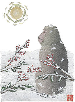 Snow Monkey And Sunrise  by Keiko Suzuki