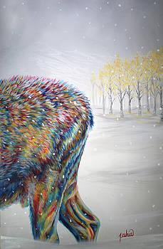 Snowdrifter Triptych Panel 3 by Teshia Art