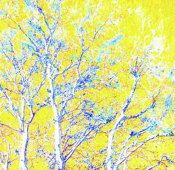 Snowy Blue Tree On Lemon by Ann Johndro-Collins