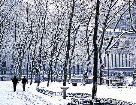 Snowy Bryant Park NY Public Library by Tom Wurl