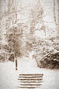 Snowy Church Steps. by ShabbyChic fine art Photography