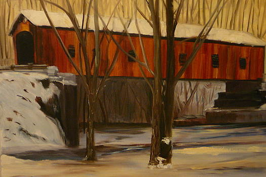 Snowy Covered Bridge by Betty Pimm