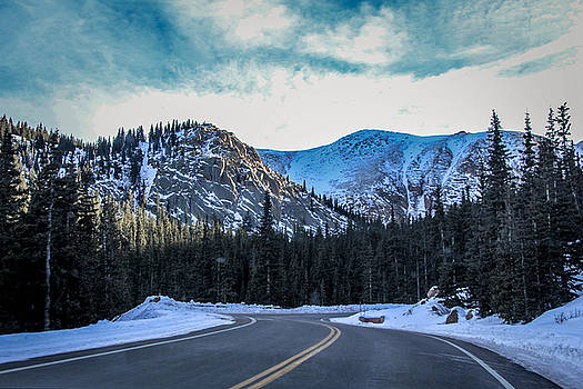 Snowy Mountain Road by Angela Moreau