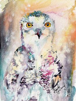 Ginette Callaway - Snowy Owl Birds of Prey Watercolor