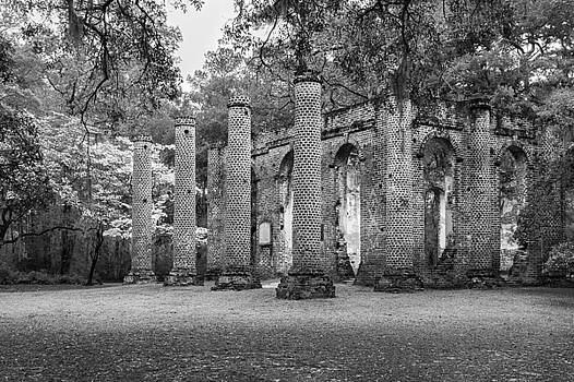 South Carolina Historic Church Black and White Sheldon Ruins a View From the Outside by Bill Swindaman