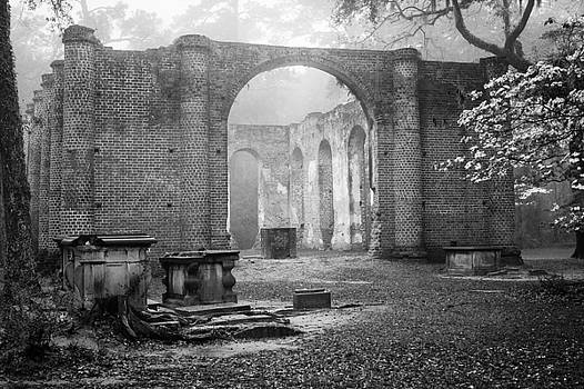South Carolina Historic Church Black and White Sheldon Ruins A View From the Outside TWO by Bill Swindaman