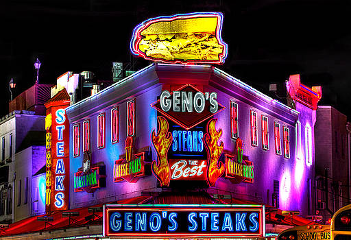 South Philly Skyline - Geno's Steaks-2 - Ninth and Passyunk in South Philadelphia by Michael Mazaika