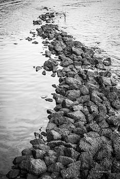 South River Rock Shoal - BW by Brian Wallace
