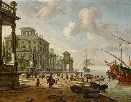 Southern Harbour Scene with Oriental Figures by Abraham Storck