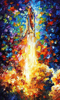 Space Shuttle - PALETTE KNIFE Oil Painting On Canvas By Leonid Afremov by Leonid Afremov
