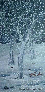 Sparrows in the Snow by Anna Folkartanna Maciejewska-Dyba