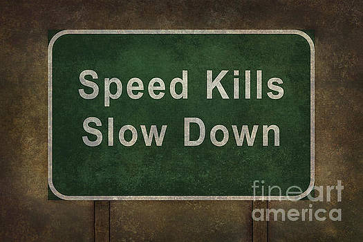 Speed Kills Slow Down roadside sign illustration by Bruce Stanfield