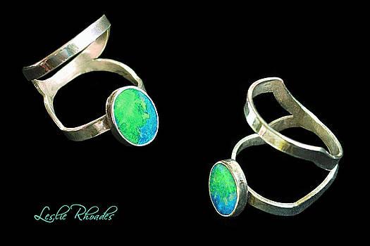 Split Silver Black Opal Ring by Leslie Rhoades