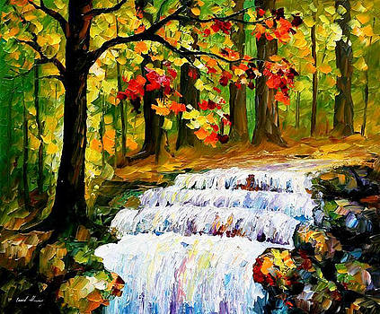 Spring Stream - PALETTE KNIFE Oil Painting On Canvas By Leonid Afremov by Leonid Afremov