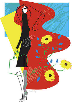 Woman with shopping bag and flowers by Lisa Henderling