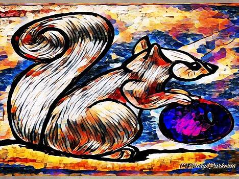 Squirrel With Christmas Ornament by MaryLee Parker