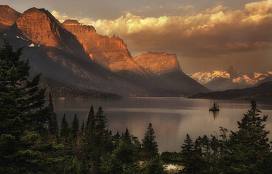 St Mary Lake Sunrise from Wild Goose Island overlook by Thomas Schoeller