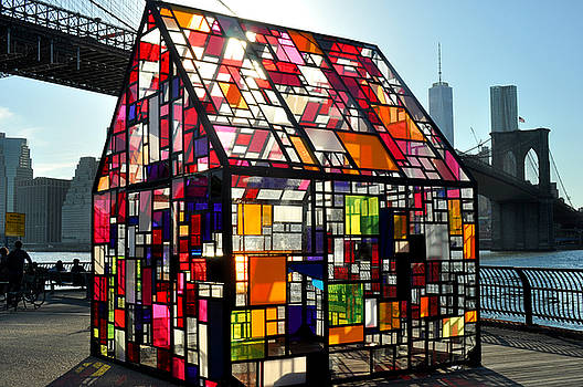 Stained Glass House and Brooklyn Bridge by Diane Lent