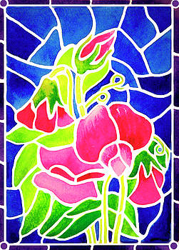 Stained Glass Sweet Peas by Janis Grau