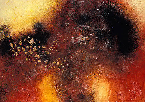 STARBURST an explosive abstract painting in orange and black by Phil Albone