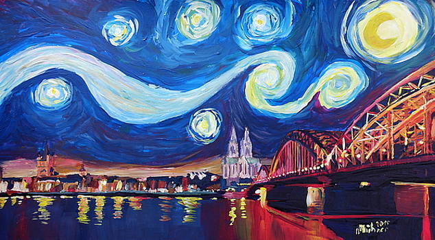 Starry Night in Cologne - Van Gogh Inspirations on River Rhine and Cathedral by M Bleichner