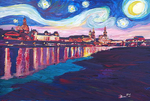 Starry Night in Dresden - Van Gogh Inspirations on River Elbe by M Bleichner