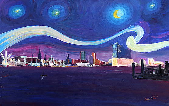 Starry Night in Hamburg   Van Gogh Inspirations in Hamburg Harbour with Elbe Philharmonic Hall by M Bleichner