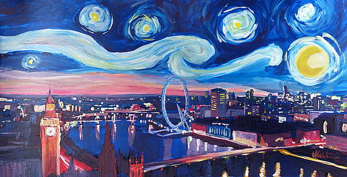 Starry Night in London - Van Gogh Inspirations with Big Ben and London Eye by M Bleichner