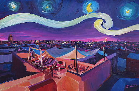 Starry Night in Marrakech   Van Gogh Inspirations on Fna Market Place in Morocco by M Bleichner