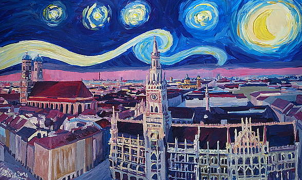 Starry Night In Munich   Van Gogh Inspirations with Church of Our Lady and City Hall by M Bleichner