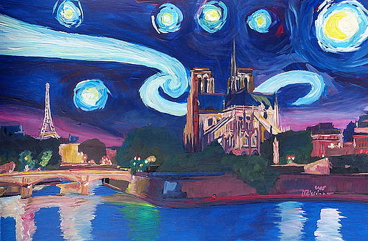 Starry Night in Paris - Van Gogh Inspirations with Eiffel Tower and Notre Dame by M Bleichner