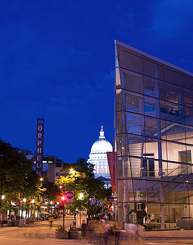 State Street View in Madison Wisconsin with Overture Center and Capitol by Michael Dykstra