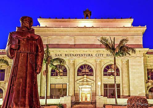 Statue of Saint Junipero Serra in front of San Buenaventura City Hall by John A Rodriguez