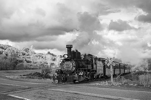 Steam Train Railroad Crossing by Steven Bateson
