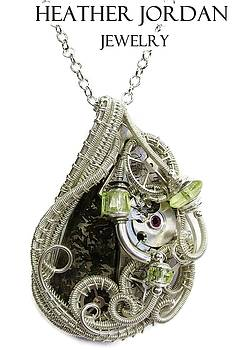 Steampunk Pallasite Meteorite Pendant in Sterling Silver with Uranium Glass - PMPSTMSS1 by Heather Jordan