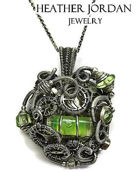 Steampunk Spirit Level Pendant in Antiqued Sterling Silver with Uranium Glass and Watch Gears/Parts by Heather Jordan