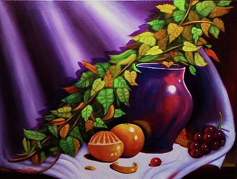 Still life w/purple vase by Gene Gregory