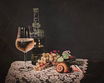 Still Life White Wine by Jerri Moon Cantone
