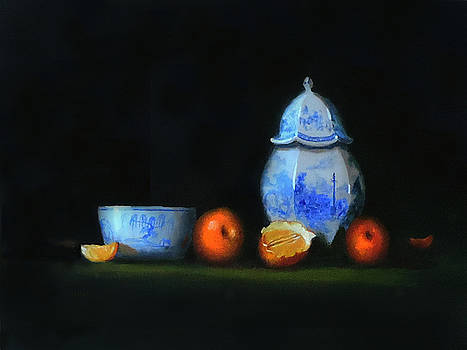 Still life with antique Blue and white china by Barry Williamson